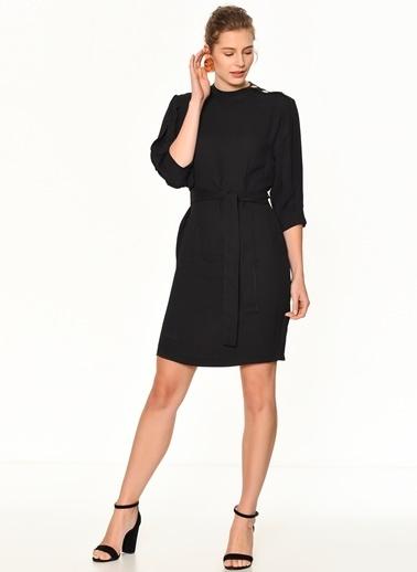Random Omzu Düğmeli Truvakar Kol Elbise Siyah